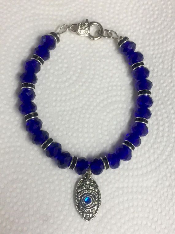 The Thin Blue Line Bracelet 2... add a charm or 2 or by EzPzGlitZ - another design selection on an old favorite!  Come see!