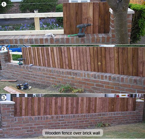 Making Brick Fence Taller Of Old Wooden Fence With