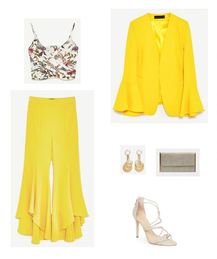 Time for Fashion » Style Consultancy. White floral printed crop top+yellow ruffled pants+yellow ruffle sleeves blazer+natural dstrappy heeled sandals+taupe clutch+gold and nude earrings. Late Summer Day Wedding Guest Outfit 2017