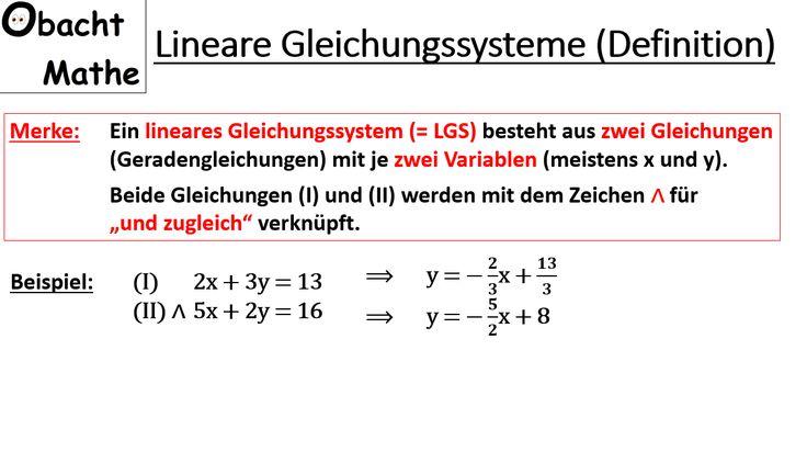 Berühmt Lösen Linearer Gleichungssysteme Durch Substitution ...