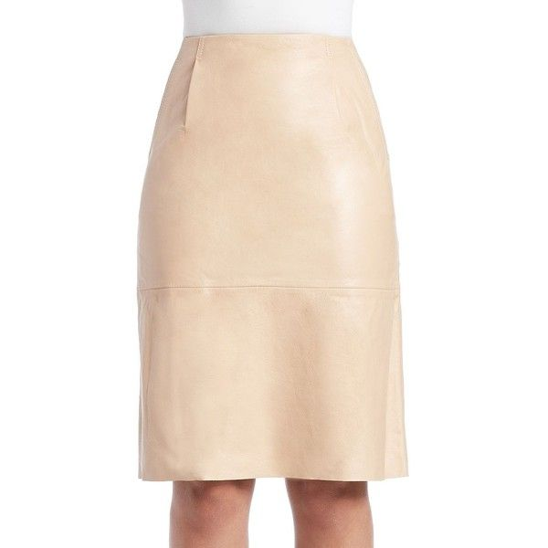 French Connection Rocker Leather Pencil Skirt ($261) ❤ liked on Polyvore featuring skirts, nude, knee length leather skirt, straight skirt, beige pencil skirt, pencil skirt and leather pencil skirt