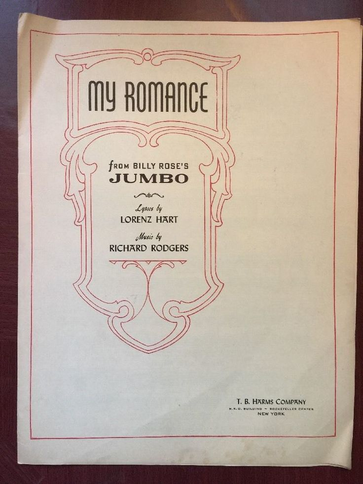 My Romance From Billy Rose's Jumbo Lorenz Hart Richard Rodgers NY Harms 1941