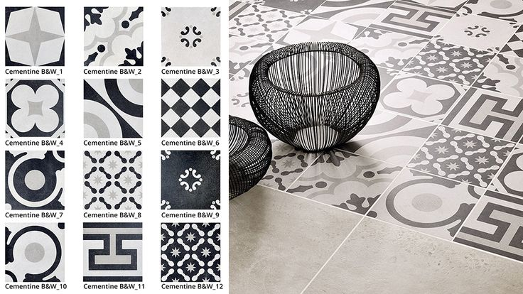 Ceramica Fioranese | Cementine Black&white collection: our colour palette comes in 12 decorative patterns for our collection Cementine Black&White, reminiscent of the patterns and feel of the early 20th century #Cementine #tiles, seen here in a temporary key and therefore perfect for interiors #design www.fioranese.it/en/prodotti/cementine-blackwhite-en