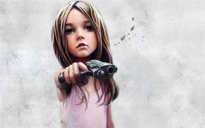 Lataa kuva pikku tyttö, ase, siniset silmät, art, luova