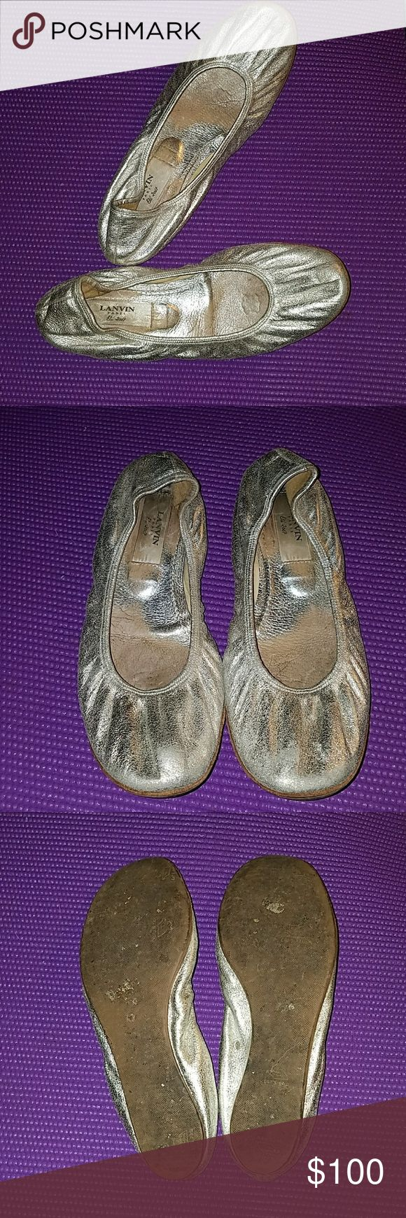 LANVIN silver ballet flats Size 8 Darling authentic LANVIN Paris metallic silver flats. Dress them up or down.....wear with jeans or a black suit! Very comfortable and worn in but still have so much life left in them! Lanvin Shoes Flats & Loafers