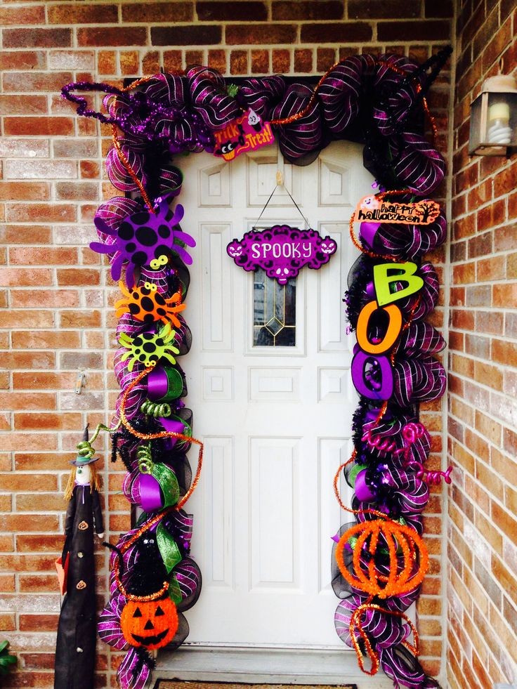 My halloween mesh deco garland for my own door please like for Halloween girlande