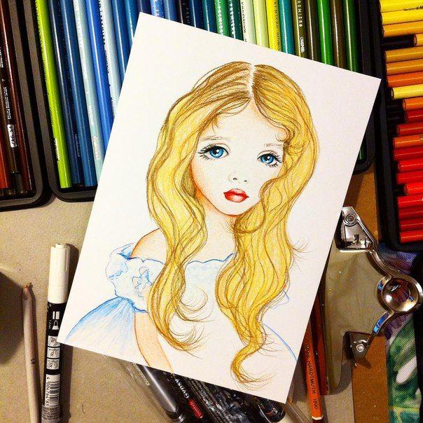 Коллекционная бэйбочка с пшеничными волосами на балу))) #арт #бэйба #портрет #рисунок #art #pencils #prismacolor #baby #girl #бэйбаколлекция