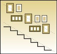 The upward angle of the frames should match the angle of the stair in a staircase display, again keep larger frames as the focal point and use smaller ones as an accent