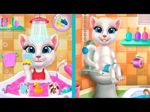 КОШКА АНЖЕЛА В ВАННЕ Ухаживай за милым котиком Мультик игра про кота для...
