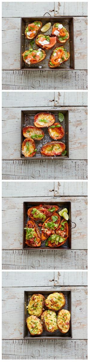 Loaded potato skins, four incredible ways