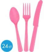 $1.99 set -Bright Pink Cutlery Set 24ct