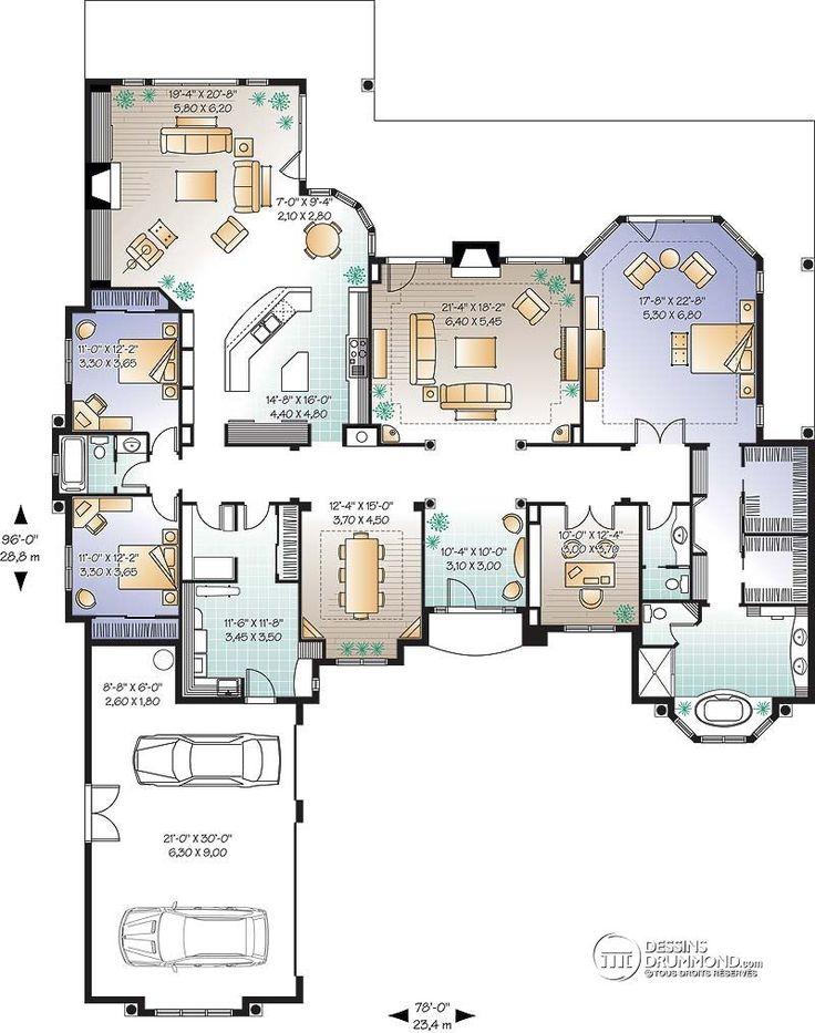 D tail du plan de maison unifamiliale w3231 maison en for Garage du midi plan d orgon