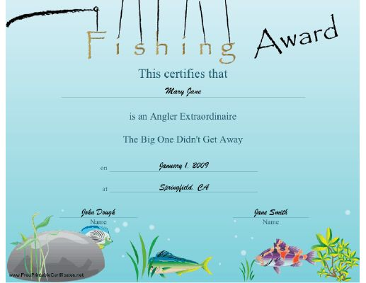 50 best scrapbooking images on pinterest printable certificates any fisherman or fisherwoman will appreciate this colorful certificate in which the letters dangle from a yelopaper Gallery