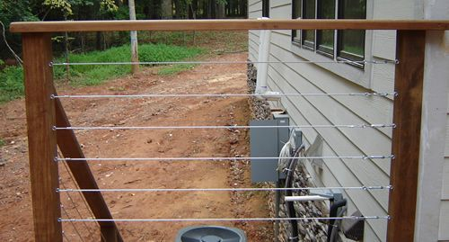 Wire Deck Fence Railing See many Deck Railing Ideas http://awoodrailing.com/2014/11/16/100s-of-deck-railing-ideas-designs/
