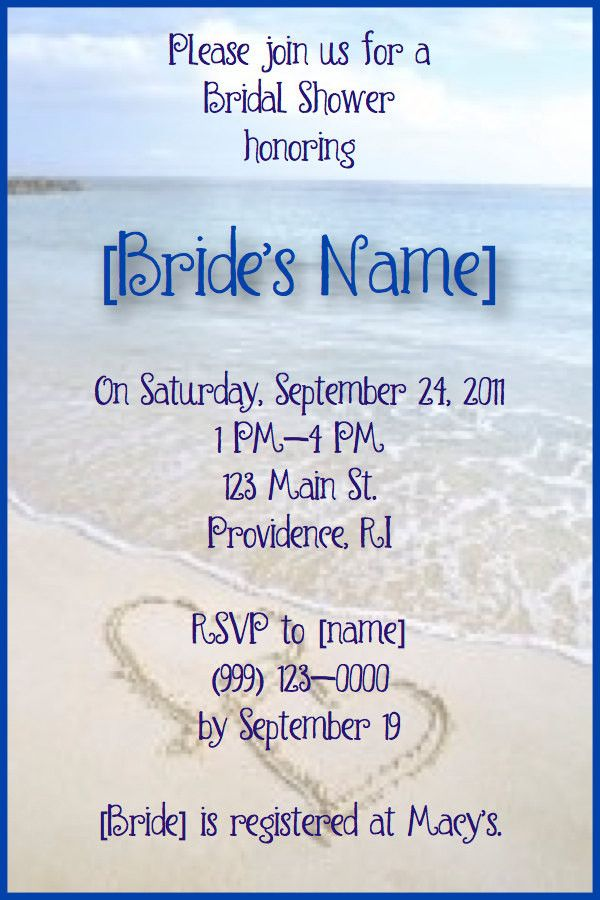 Beach Bridal Shower Invitations via Etsy