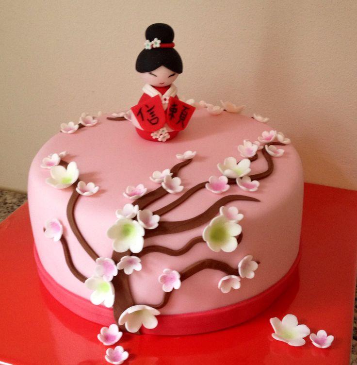 Japanse kersenbloesem en geisha taart door Sylvie Vencken