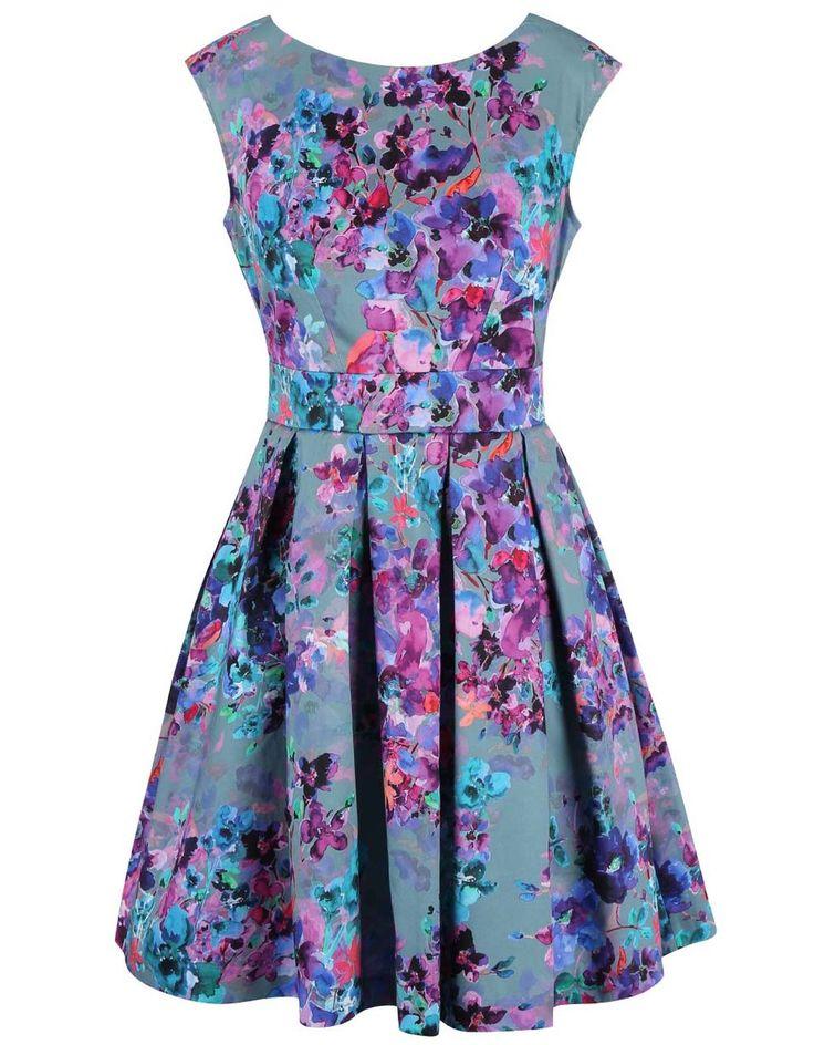 Closet - Zeleno-fialové šaty s květinovým vzorem - 1