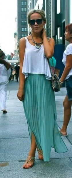 Pleated maxi + white tank + gold sandals