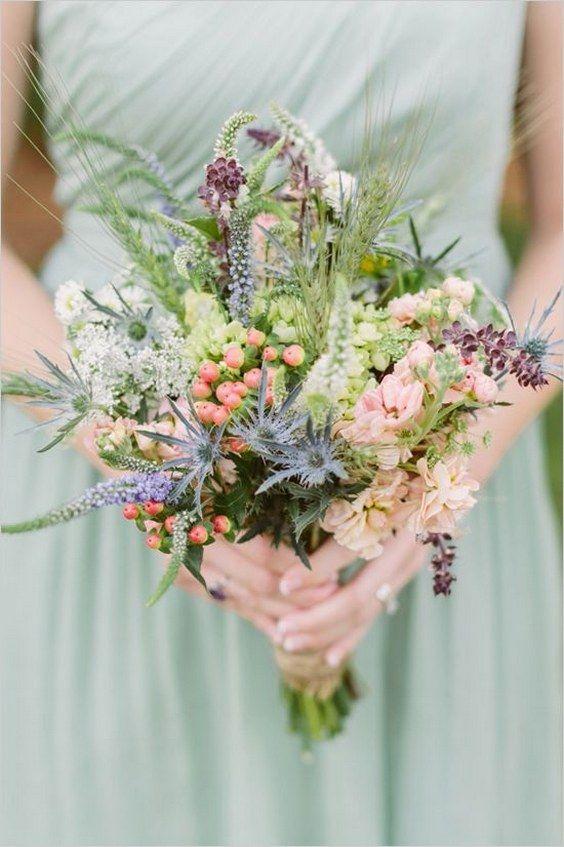 wildflower and thistle bouquet / http://www.himisspuff.com/boho-rustic-wildflower-wedding-ideas/8/