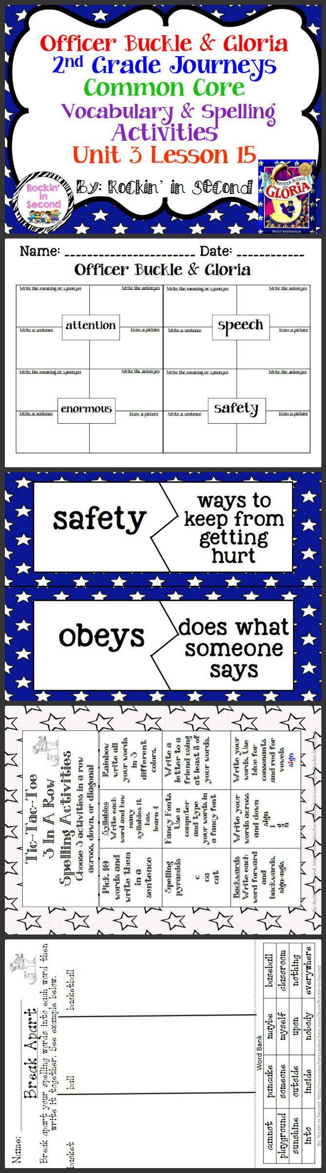 Worksheets Officer Buckle And Gloria Worksheets 19 best officer buckle and gloria images on pinterest journeys spelling vocab activities lesson 15