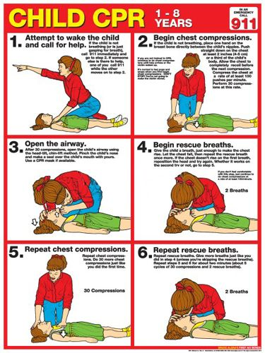Child CPR First Aid Wall Chart Poster (2013 AHA Guidelines) - Fitnus Corp.                                                                                                                                                                                 More