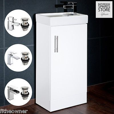 Compact-Bathroom-Vanity-Unit-amp-Basin-Sink-Cloakroom-400mm-Free-Standing-Tap-Option