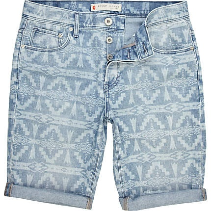 blue navajo print denim shorts - shorts - sale - men - River Island