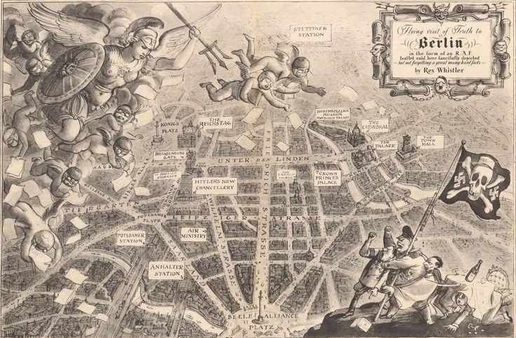 Flying Visit of Truth to Berlin, 1939 Este mapa británico de 1939 atribuido a Rex Whistler se burla de los nazis y celebra la primera incursión de la Real Fuerza Aérea sobre Berlín.