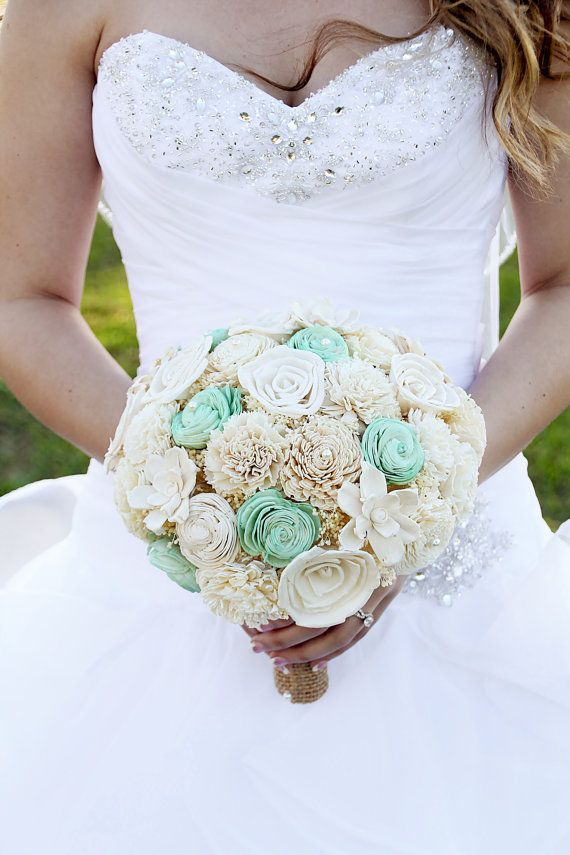 Wedding Bouquet Sola wood Bouquet Burlap Mint by TheBloomingCorner