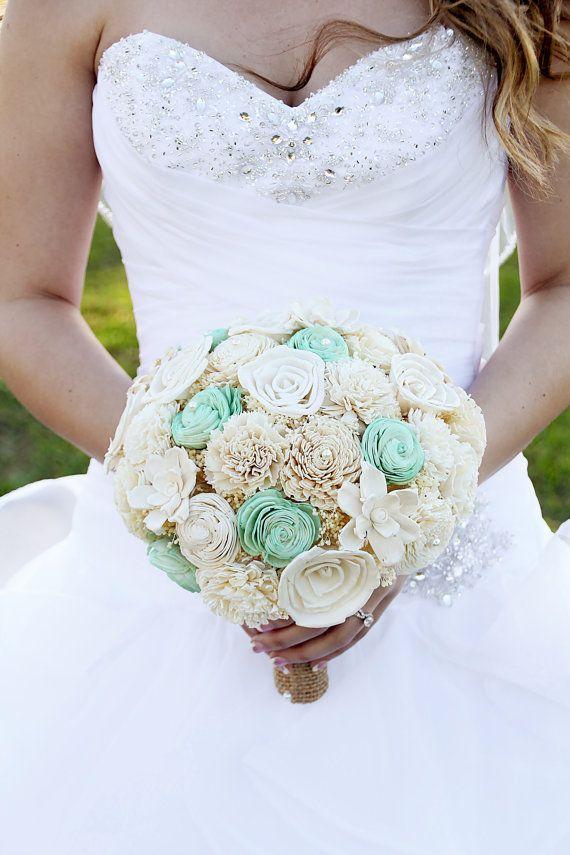 Wedding Bouquet Sola wood Bouquet Burlap Mint by TheBloomingCorner, $125.00