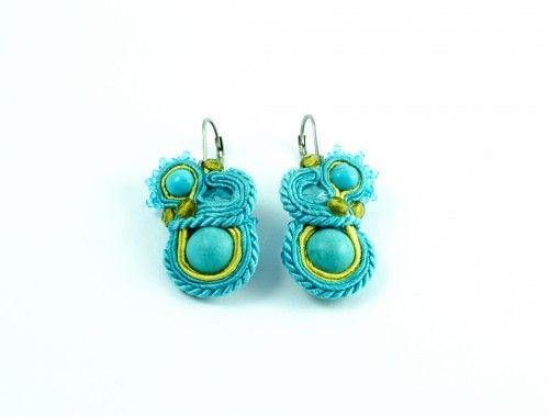 unikatowe turkusowe turquoise unique earrings soutache sutasz kolczyki stylenaut com005