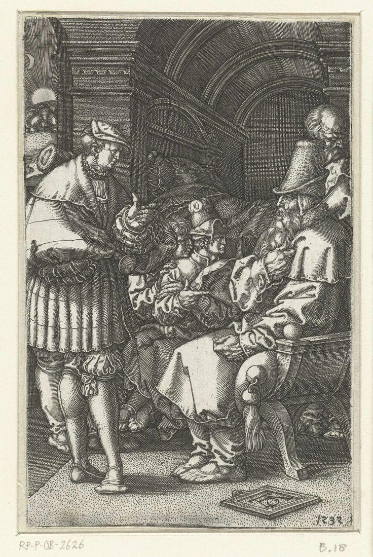Heinrich Aldegrever   Jozef vertelt zijn dromen aan Jakob, Heinrich Aldegrever, 1532   Jozef staat voor zijn vader Jakob en vertelt hem zijn dromen, de broers luisteren mee. Achter in de kamer ligt Jozef slapend in zijn bed. Zijn droom over de korenscharen en de zon, maan en sterren die voor hem buigen, is zichtbaar door een raam. Eerste prent van drie met het verhaal van Jozef .