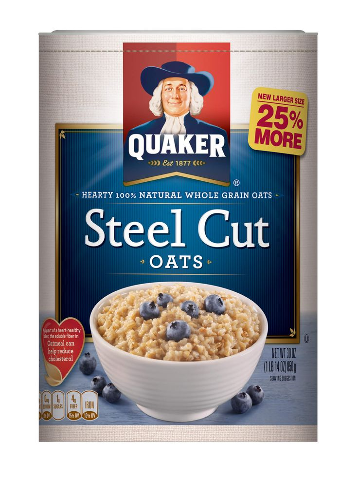 To make 1 serving:  1-1/2 cups water or milk 1/4 cup Quaker Steel Cut Oats To make 4 servings: 4 cups water or milk 1 cup Quaker Steel Cut Oats Bring water or milk to a boil in a medium saucepan. Stir in oats, reduce heat to low. Simmer uncovered over low heat, stirring occasionally, for 25-30 minutes or until oats are of desired texture.
