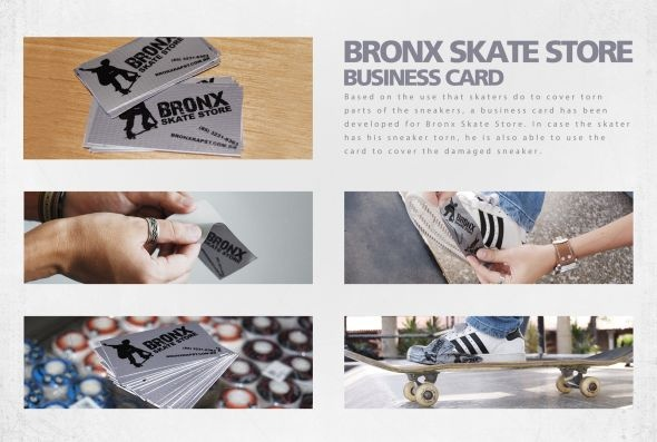 The business card for Bronx Skate Store can also be used to cover torn parts of sneakers - designed by Todacor Comunicação, Fortaleza, Brazil