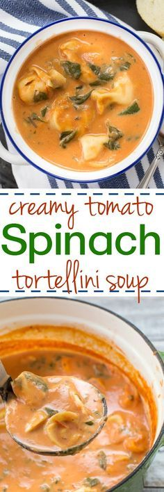 This Creamy Tomato Tortellini Spinach soup is super easy to make and is such a comforting dish!