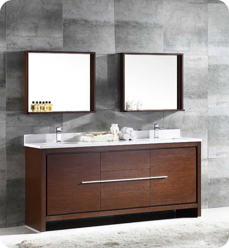 """Fresca FVN8172WG Allier 72"""" Double Sink Modern Bathroom Vanity in Wenge"""