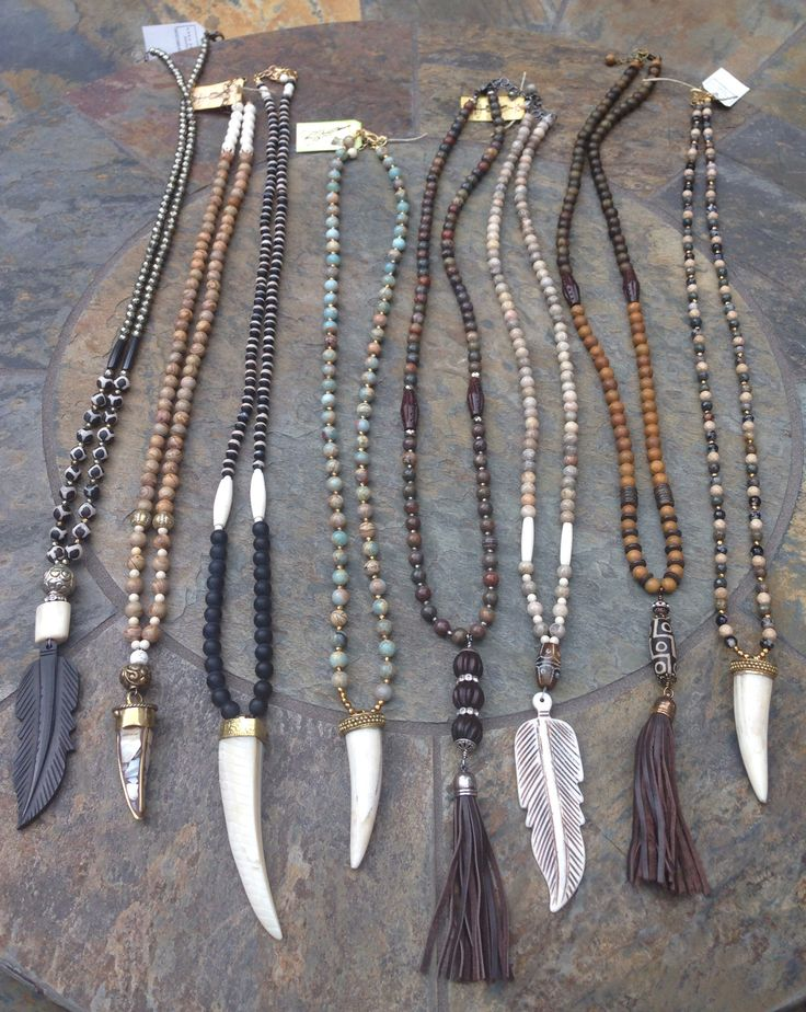 Beaded necklaces with bone horns Www.lisajilljewelry.com