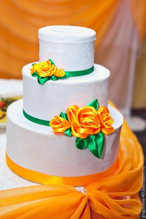 """Купить Комплект """"Цитрус"""" - рыжий, оранжевый, цитрус, казна для денег, казна свадебная, шампанское на свадьбу"""