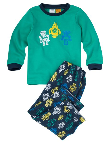 A fun addition to your little one's sleepwear, this PJ set includes a robot printed long-sleeved top and pants.