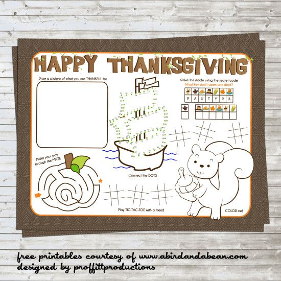 Free Thanksgiving Place-mat for Kids (fun printable to keep them busy at the table or while they wait)