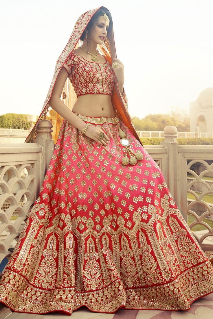 #StyleOfTheDay Buy This Pink-Red Pure Silk Heavy Embroidery Work #Designer #BridalLehengaCholi. Buy Now:- http://www.lalgulal.com/lehenga-choli/pink-red-pure-silk-heavy-embroidery-work-designer-bridal-lehenga-choli-696 #CashOnDelivery & #FreeShipping only in India. For Other Query Just Whatsapp Us on +91-9512150402 Or Mail Us at info@lalgulal.com.