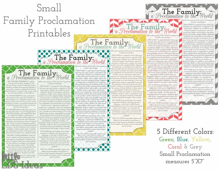 {Printables} The Family: A Proclamation to the World