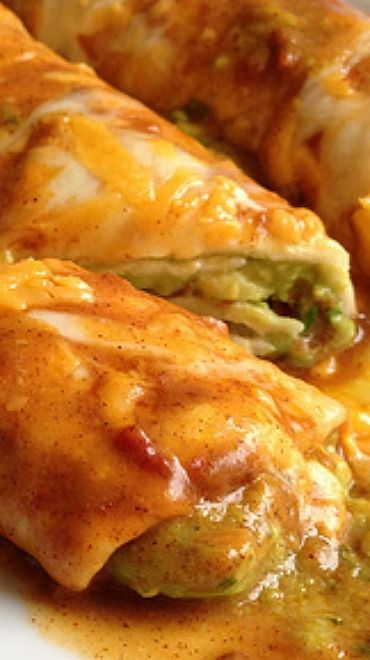 Avocado Enchiladas Recipe Recipe ~ These are basically guacamole-stuffed tortillas topped with homemade enchilada sauce and cheese.