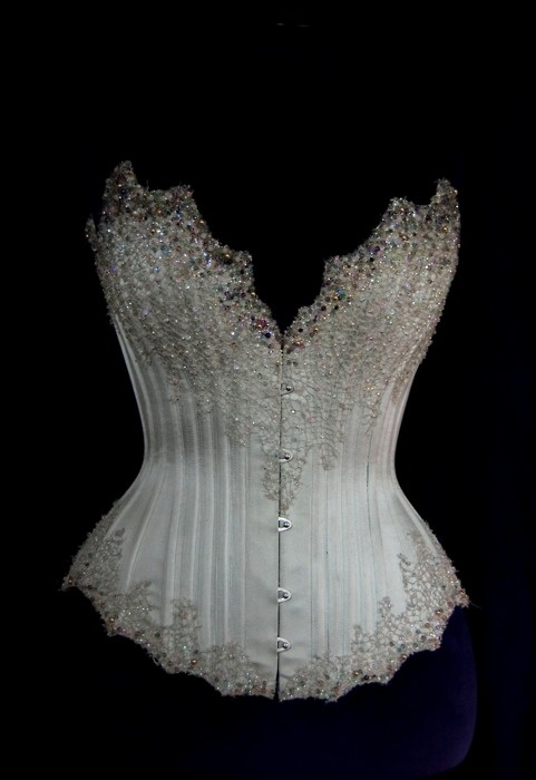 Trendy Couture Wedding Corsets and Gowns Silver Beaded Corset by Charlotte Davis