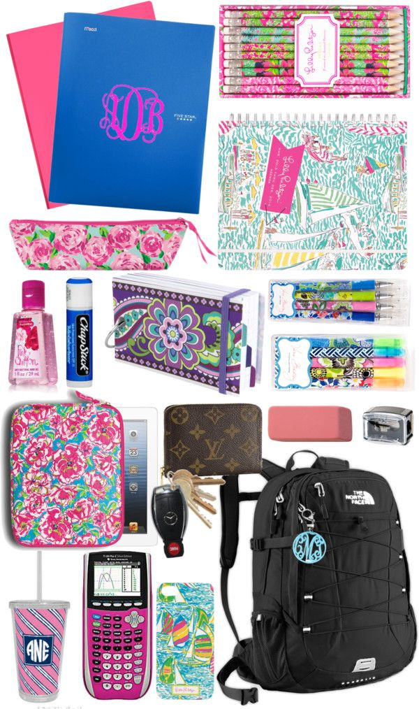 Whats In My Backpack by alexkay98 featuring lilly pulitzer ❤ liked on PolyvoreBackpacks bag / Plastic bag / Lilly Pulitzer  / Lilly Pulitzer  / Tech accessory / Acrylic key chain / Paula Dorf eyeliner pencil sharpener / Body moisturizer / Lilly Pulitzer  / Lilly Pulitzer 2014 Jumbo Agenda / Lilly Pulitzer Pencil Set / Vera Bradley Study Buddy / Texas Instruments TI-SEC84+ Color Screen Graphing Calculator Pink / Vera Bradley Highlighters / Vera Bradley Gel Pens / Integra Pink Pencil Erasers…