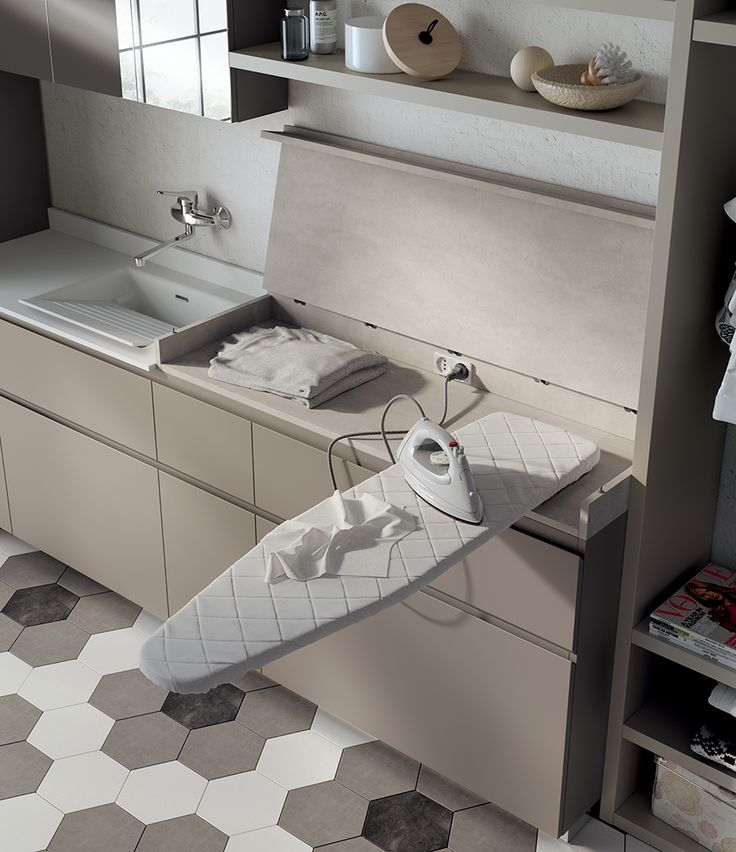 For a truly accessorised Laundry Space, Scavolini has come up with the new Cover top, available in a single Azimut Decorative Melamine finish and fitted with a pull-out ironing board which swivels out of its housing and is available either left- or right-hand.