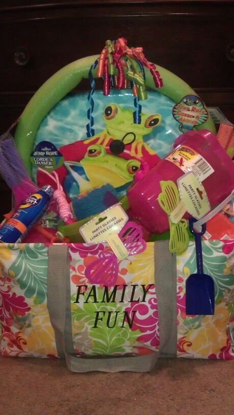 Our Large Utility Tote holds what you need for the beach and makes a great beach gift basket!