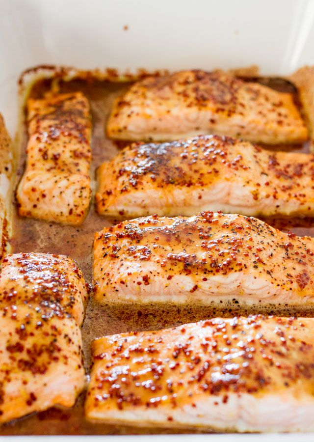 Maple Mustard Glazed Salmon - the best salmon ever!! Click through to my blog to check  out the recipe!