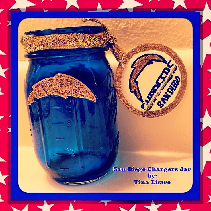 San Diego Chargers Mason Jar By Tina Listro Charged Up