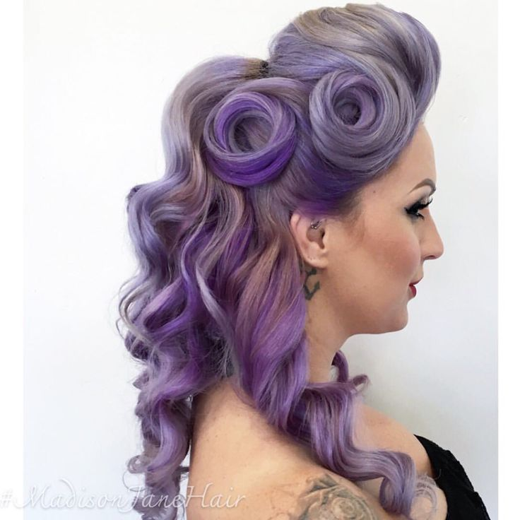 What's Old is New Again! Adorable vintage hairstyle and chic purple hair color by @madisonjanehair hotonbeauty.com